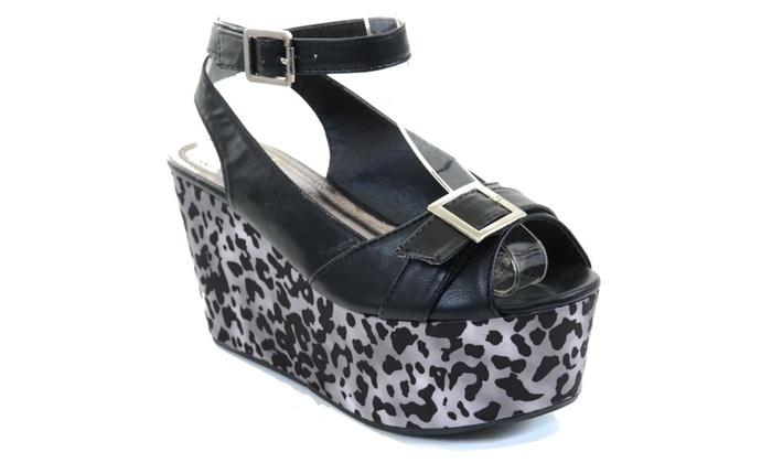 Black Cheetah Buckle Peep Toe Platform Wedge Vegan Fourever Funky