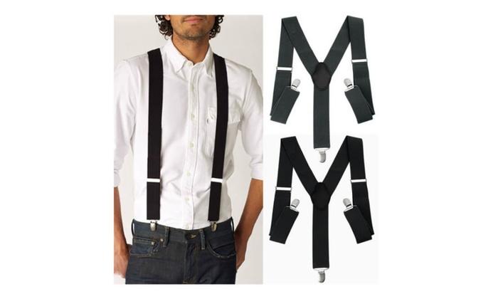 Men Women Clip-on Suspenders Elastic Adjustable Braces Solids