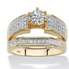 1.11 TCW CZ Ring in 14k Gold over Sterling Silver