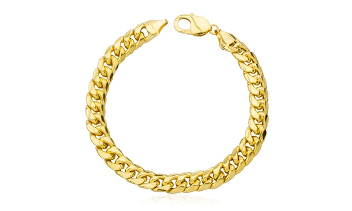Real 10k Gold 11mm Miami Cuban Chain Hollow Bracelet