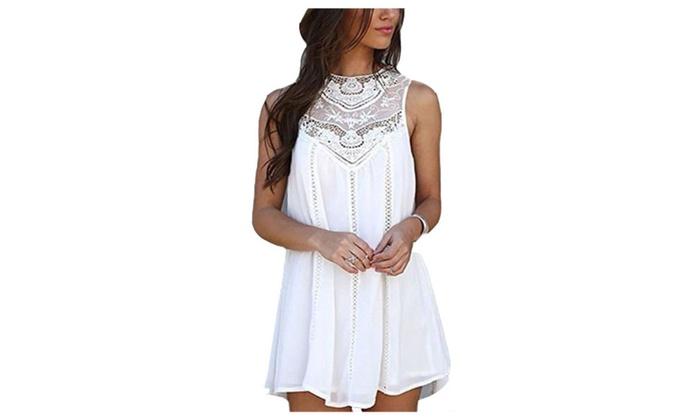 Women's Loose Lace Patchwork Sleeveless Dress