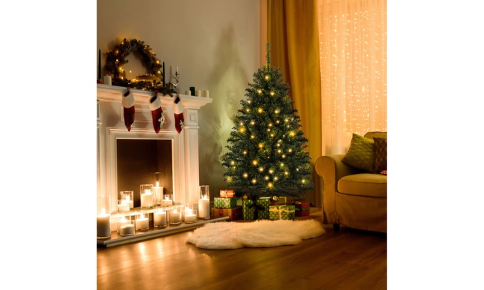 4ft christmas tree with lights fibre optic costway 4ft prelit charlie pine artificial christmas tree led lights