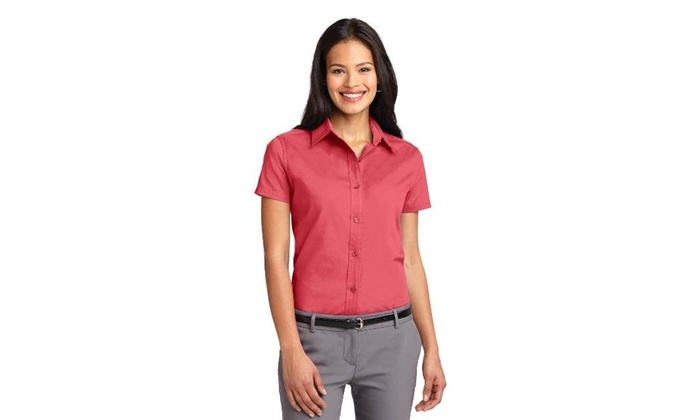 6c6cbcfe Port Authority L508 Ladies Short Sleeve Easy Care Shirt Hibiscus - Medium  na One Size