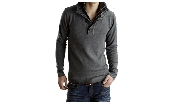 Men's Stylish Buttons Mock Neck Solid Knitted Pullover Sweater