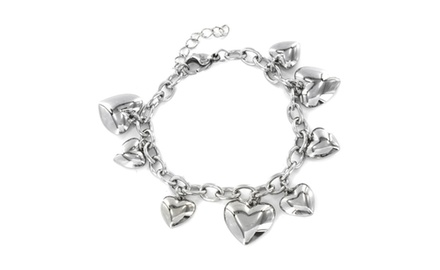 ELYA Polished Hearts Charm Bracelet