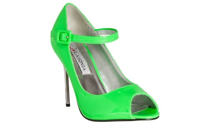 Riverberry Women's 'Peep Toe Mary Jane Style Stiletto Heels, Green