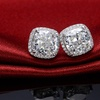 3.50 CTTW Cushions Cut Halo Stud In Solid Sterling Silver