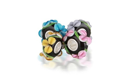 Bling Jewelry 925 Silver Flower Murano Glass Beads set a6fd73c0-a531-4e12-9b66-98c8e7d231a6