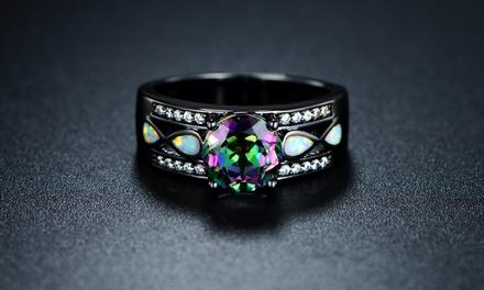 3.00CTW Briliant-Cut Enhanced Topaz & White Fire Opal Engagement Ring in Black R