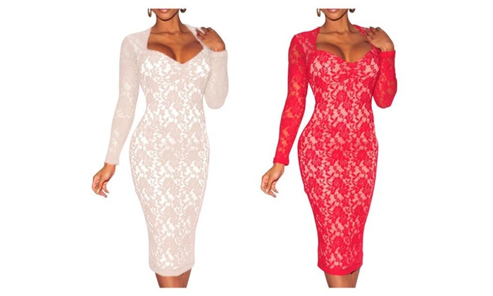 Jollypicks Women's Sexy Lace Embroidery  Mid Length Pencil Dress