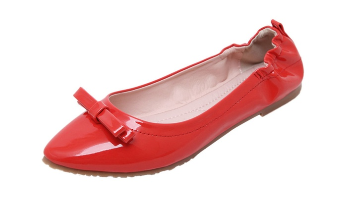 Women's Bowknot Pointy Slip-On Flat Shoes