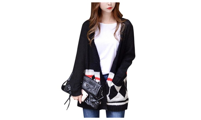 Women's Long Sleeve Open Front Simple Graphic Cardigan