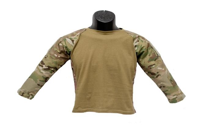 Kids Multicam Combat Camouflage Military Battle Long Sleeve T Shirt