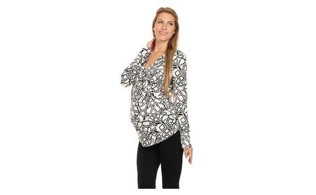 Black & White Star Surplice Maternity/Nursing Top