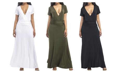 Plus Size Women V Neck Maxi Dress 89abb8cc-9a5f-414a-9076-0a437dce5907