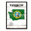 """Washington State Map Accent Shabby Chic Flag 7""""x9"""" Framed Canvas Print"""