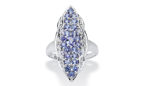 1.09 TCW Tanzanite and White Topaz Ring in Sterling Silver 788a3bcb-7534-4c98-8f46-52002b8af598