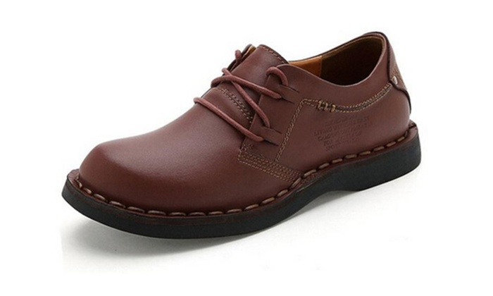 Men's Leather Lace Up Round Toe Casual Shoe
