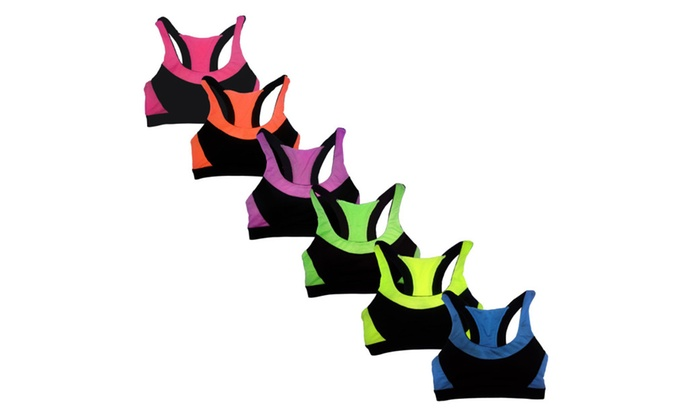 Women's 6 Pack Contrast Color Racerback Padded Yoga Sports Bras