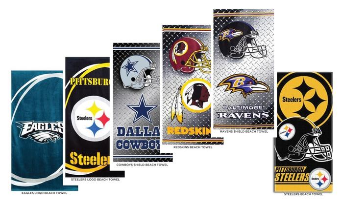 "NFL Team Logo 100% Cotton 30"" x 60"" Beach Towel Assorted Styles"