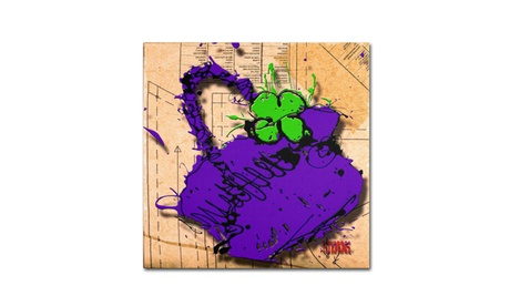 Roderick Stevens 'Flower Purse Green on Purple' Canvas Art (Goods For The Home Prints & Decals) photo