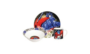 Hasbro Transformer Optimus Prime 3 Pc Dinnerware Set - Plate,  Bowl, Mug