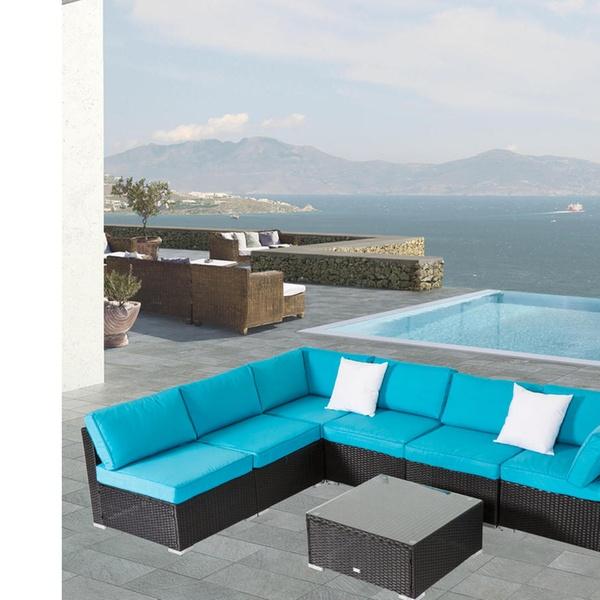 Kinsunny 7 Pcs Outdoor Furniture PE Rattan Wicker Sofa Patio Sectional Sofa