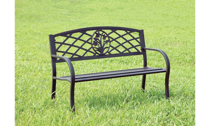 Delanto Black Steel Carved Cut Out Outdoor Bench Groupon