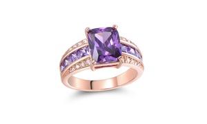 Genuine Purple Tanzanite & 18k Rose Gold Princess Cut Ring