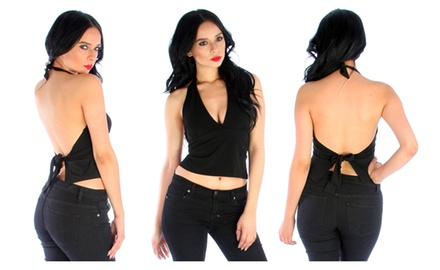 Wrap Halter Crop Top
