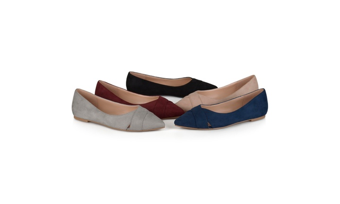 Journee Collection Womens Faux Suede Pointed Toe Flats
