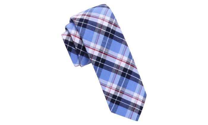 Skinny Tie Madness Men's Would Blue Plaid Skinny tie