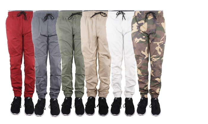 Men's Moto Biker Twill Joggers with Elastic Waistband and Drawstrings