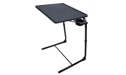 Portable Foldable Adjustable TV Tray Table Deluxe - w/ Cup Holder - Pro Model