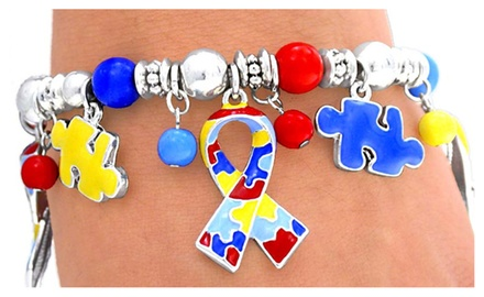 Autism Awareness Colorful Puzzle Piece and Ribbon Stretch Bracelet