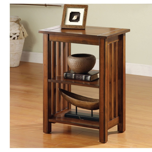 Roberta Slat Panel Antique Oak Open Shelf Accent Table