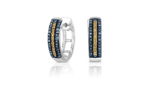1/3cttw Blue and Yellow Princess Cut Diamond Hoop Earrings in Silver