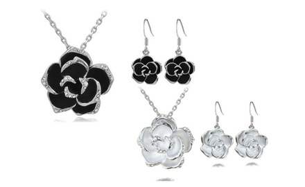 KATGI 18K White Gold Plated Upscale Retro Rose with Austrian Crystals Pendant Necklace and Earrings Set