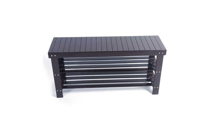 "36"" 3 Tiers Solid Wood Shoe Bench Storage Racks Seat Organizer Entryway Hallway"