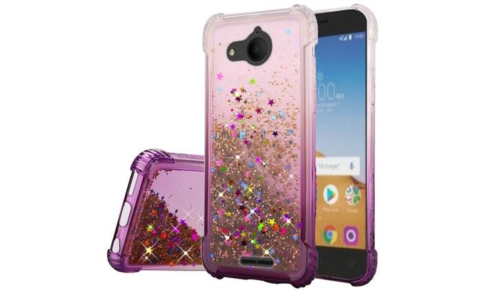 Insten For Alcatel Tetra Purple Two Tone Quicksand Glitter