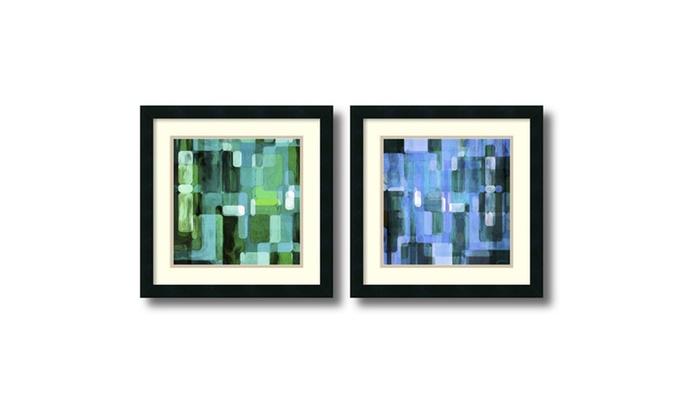 Modular Tiles Cool Set Of 2 Framed Art Print 18x18 In