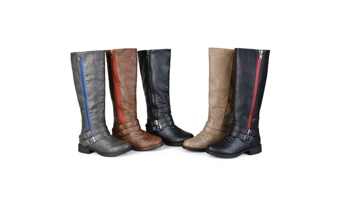 Journee Collection Womens Side-Zipper Buckle Knee-High Riding Boots