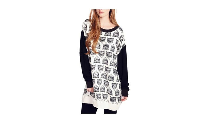 Women's Slim Fit Printed Pullover Straight Hem Sweatshirt