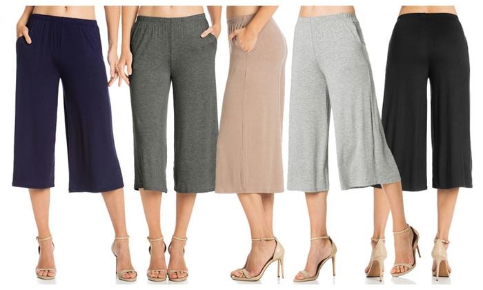 FACA Womens Elastic Waist Jersey Culottes Capri Length Pants