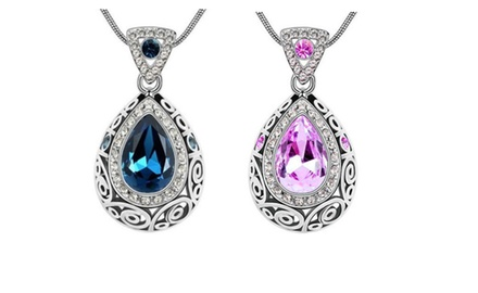 KATGI Fashion Classic Austrian Crystal Luxurious Angel Teardrop Pendant Necklace