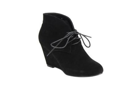 Beston DE06 Women Lace Up Front High Top Wrap Heel Ankle Wedge Booties 40d6caf3-f594-42f8-8d6e-1d809c7e9a80