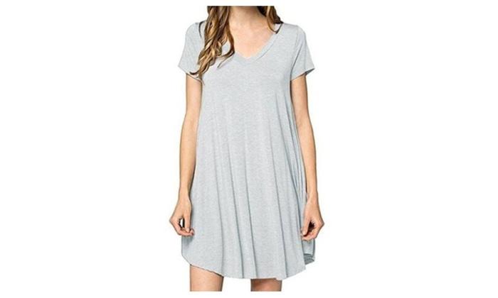 222084d80c87 Women s Casual Plain Simple Pocket T-shirt Loose Dress