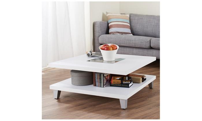 Rossy White Walnut Floating Shelf Coffee Table Groupon
