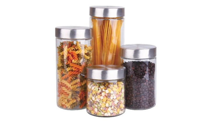 Buy It Now : 4 Pc Glass Canister Set With Stainless Steel Lids
