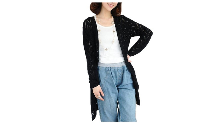 Womens Fashion Loose Hollow Out Knitted Cardigan Sweater